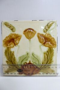 ANTIQUE MAJOLICA ART NOUVEAU TILE