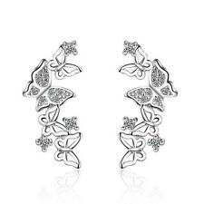 White Gold Plated Zircon Crystal Butterfly Ear Stud Earrings Jewelry For Women