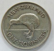 1936 New Zealand One Florin *Rare Low Mintage Coin Kiwi Bird
