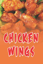 """CHICKEN WINGS 12""""x18"""" STORE PIZZA RETAIL FOOD COUNTER SIGN"""