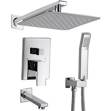 "Shower Faucet Set Valve with Tub Spout and 10"" Rainfall Shower Head Wall Mounted"