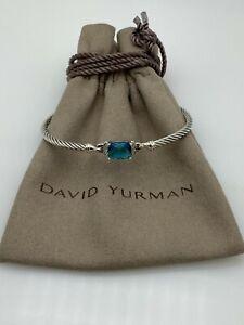 David Yurman Petite Wheaton Bracelet with Hampton Blue Topaz and Diamonds medium