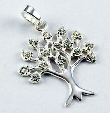 **BEAUTIFUL SOLID SILVER TREE OF LIFE WITH CLEAR CRYSTALS PENDANT**