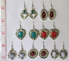 Set ~Lot~ 7 pairs of hook earrings~Faux Turquoise stone~Tibetan Silver~heart