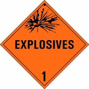 "12x Gefahrgut Aufkleber ""Klasse 1 mit Text"" Explosive Stoffe 10x10cm"