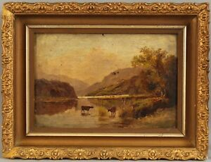 Sm 19thC Antique Hudson River School Country Cow Landscape Oil Painting