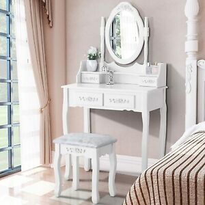 White Dressing Table, Oval Mirror & Stool Set Bedroom Makeup Desk