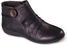 Padders Carnaby Ladies Womens Leather Extra Wide Fit Zip Warm Ankle BOOTS Black UK 6.5