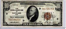 """L@@K  $10  1929  CLEVELAND  """"D""""  FRB  S/N D01738475A  CRISP  CIRCULATED"""