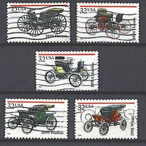 Scott #3019-23 Used Set of 5, Antique Autos