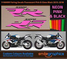 BMW S1000RR Fairing Decals. 2015-18 - Gloss Fluorescent Pink & Black Stickers