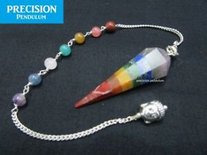 Chakra Seven Crystal Gemstone + Buddha Chain Precision Pendulum Healing Energy
