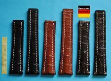 Véritable Bracelet Croco 20 + 22mm Compatible Breitling Fermoir Papillon
