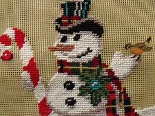 "18"" Preworked Needlepoint Canvas Snowman With Bird"
