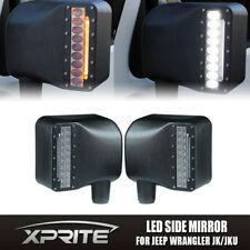 Xprite Side Mirror White & Amber Turn Signal Clear Lens For 07-17 Jeep Wrangler