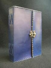 Handmade BLUE Leather Diary Journal Sketchbook Notebook - with Brass Fastening