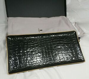 New L'Objet Black Crocodile Rectangular Porcelain Tray with 24K Gold Leaf Trim