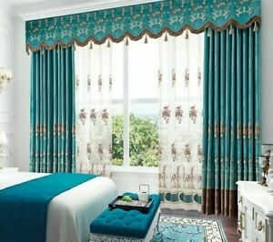 Velvet Embroidered Curtains Living Room Bedroom High-end Window Treatment Decors
