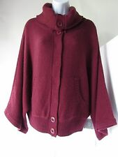 RELATIVITY Women's Red Wool Blend 3/4 Sleeve Knit Cardigan Cape Sweater, size L
