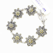 NWT Lucky Brand Gold & Silver Two Tone Linked Flower Pave Stone Toggle Bracelet