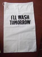 vtg canvas drawstring laundry duffel duffle bag I'll Wash tomorrow 19 x 32 MINT