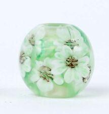 10pcs handmade Lampwork glass round Beads flower 14mm---green white flower