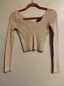 forever 21 womens Ribbed crop Top Long sleeve Stripes Small