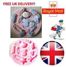 Baby Boy Toys Silicone Mould Baby Shower Fondant Cake Sugarcraft Mold Tool - UK