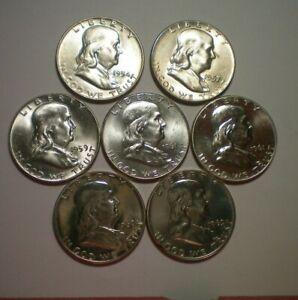 1954 D BU,1957 BU,1961 BU,2 1960 PROOF AND 1961 PROOF FRANKLIN HALF DOLLAR