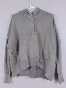 Free People Movement Army Green Stressed Hooded Sweatshirt Honey Dove Pullover