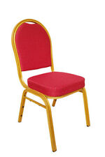 More details for stacking metal banqueting chairs. red gold round back. steel. catering. church