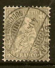 SWITZERLAND:1878 Sitting Helvetia 40c pale grey SG 66a used