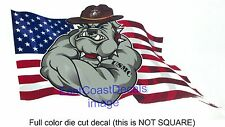 USMC Marine Bulldog American Flag Sticker Decal Custom Die cut Decals Free Ship