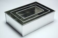 "3 TIER HEAVY DUTY RECTANGLE WEDDING CAKE TINS 8"" 10"" 12"" - 3"" DEEP"