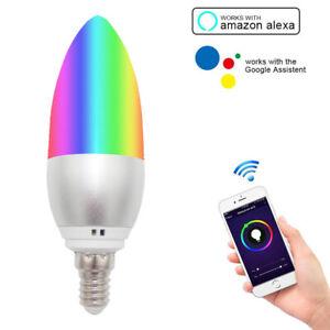 1pc E14 Smart WiFi Candle Light Bulb RGB+W LED Works with Alexa Google Assistant