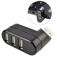 Black New Mini 3 Ports USB 2.0 Rotate Splitter Adapter Hub PC Laptop Expansion