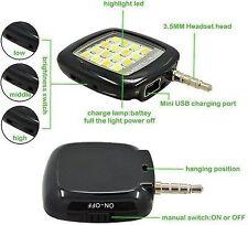 Portable 16 LED NIGHT Selfie Enhancing Flash Fill-in Light Torch 3.5mm Jack