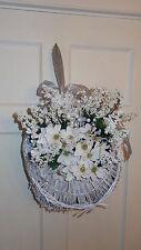 White Wicker Door/Wall Basket Decoration/White Flowers Wall Decor