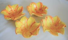 Vintage Portuguese Pottery Yellow and Orange Lily Bowls Made in Portugal