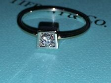 Tiffany & Co Frank Gehry 18K white gold bead diamond square engagement ring 7