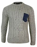 Mens Fitted Pullover Top Cardigan Jumper Knitted Wool Chunky Warm Smart Casual