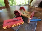 Vintage Wood Wagon Bench Knockout Hammer Peg Toy & Tank Train Pull Toy Lot Of 2