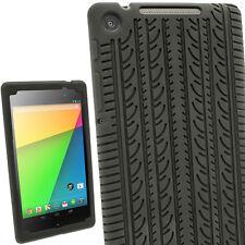 Schwarz Silikon Hülle Case Tasche mit Reifenprofil für Google Nexus 7 2013 2.Gen