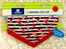 NWT PETSMART TOP PAW STRIPED HEART VALENTINE PUPPY DOG BANDANA COLLAR SMALL