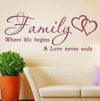 Wall Stickers Quotes Family where life begins Vinyl Home Decal SVIL011