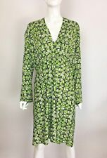 TBAGS LA Long Sleeve V-Neck Printed Stretch Midi Dress Green Multi 1X $202 B1