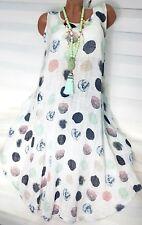 Gr.42-44-46 Sommerkleid Leinen Optik Colin (Weiß) Strand Kleid Tunika Hängerchen