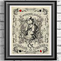 Original ART Print DICTIONARY ANTIQUE BOOK PAGE Alice in Wonderland VINTAGE