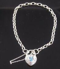 Brand New Solid Sterling Silver Oval Belcher Bracelet With Blue Topaz Padlock