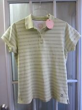 "Life is Good Striped on Honeydew Color Short/S  Pique Polo Shirt Women M ""NWT"""